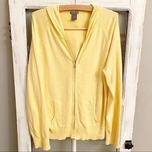🧶Yellow soft cardigan zip sweater pockets